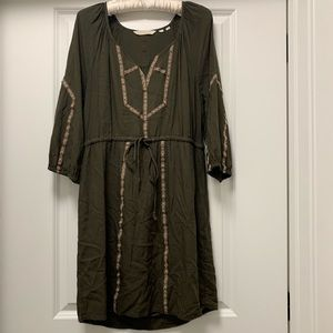 Green tunic dress from Anthropologie
